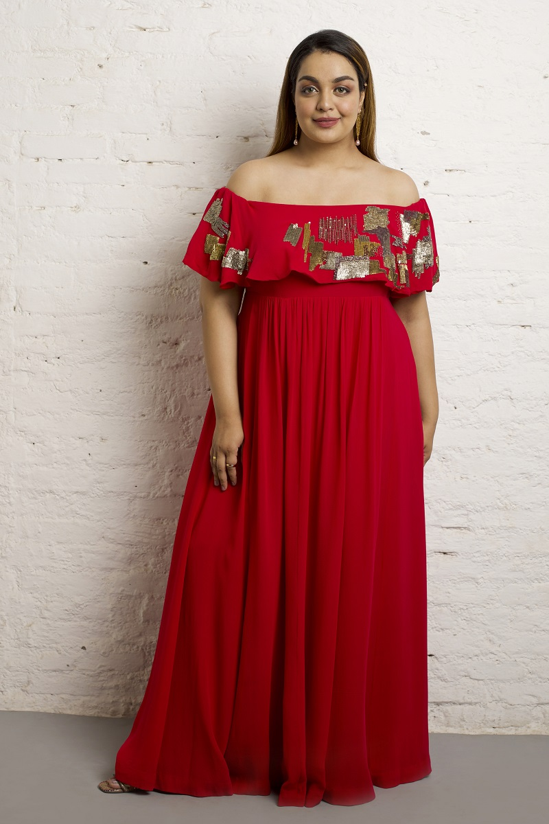 d3965a6de1a1 Buy Online Hand Embroidered Off Shoulder Gown